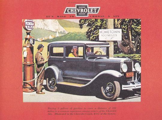 Advertentie Chevrolet uit 1930 met de nadruk op het brandstofverbruik.