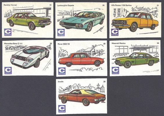 Centra lucifers, auto's, 1970, nr. 19-25.