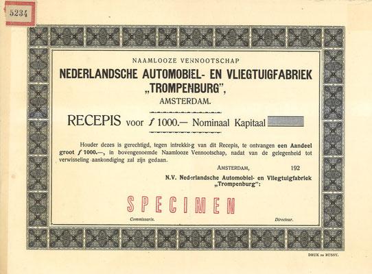 """Recepis voor een aandeel N.V. Nederlandsche Automobiel- en Vliegtuigfabriek """"Trompenburg"""" uit 1920, specimen."""