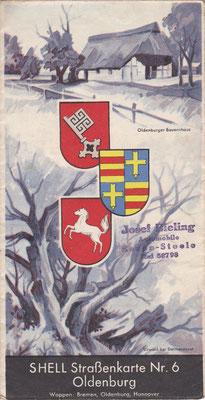 SHELL Strassenkarte, Nr.6 Oldenburg (na 1924, vóór 1940).