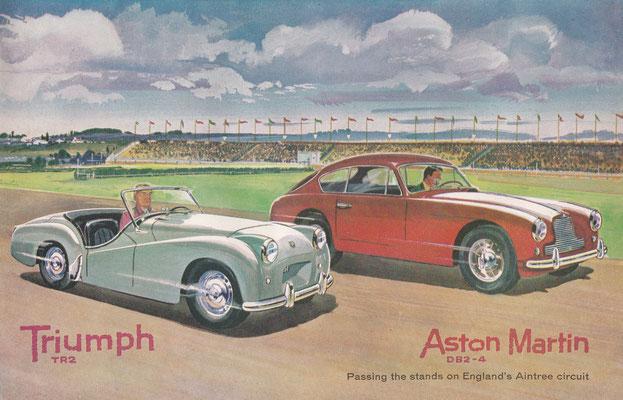 Triumph TR2 en Aston Martin DB2-4 op het Aintree circuit in Engeland (1956).