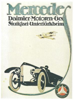 Een affiche van Daimler voor Mercedes uit 1918