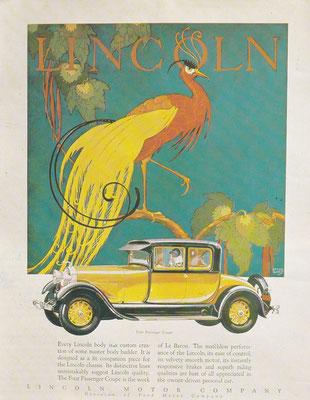 Amerikaanse advertentie voor Lincoln.