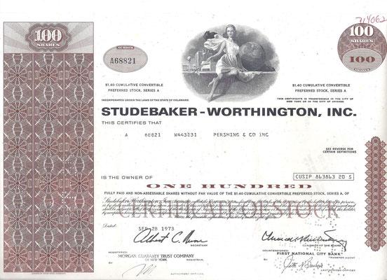 Certificaat voor 100 aandelen Studebaker-Worthington, Inc. uit 1973.