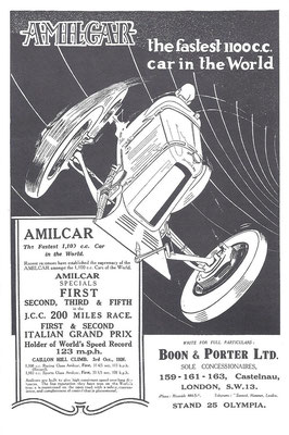 Een advertentie voor Amilcar uit 1926.
