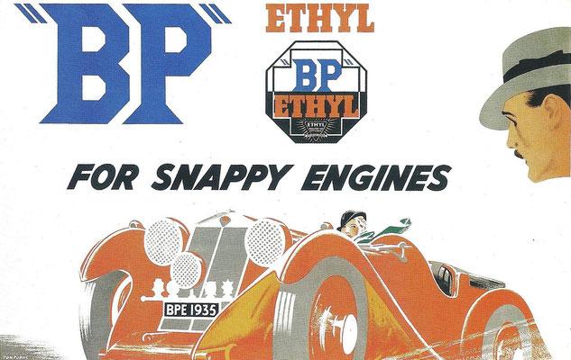 Reclame voor BP ontworpen door Tom Purvis.