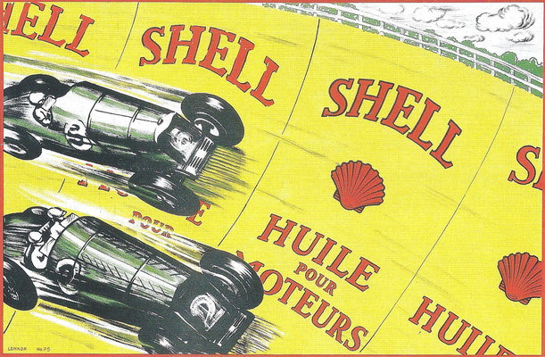 Franse poster van Shell uit de tijd tussen de wereldoorlogen.