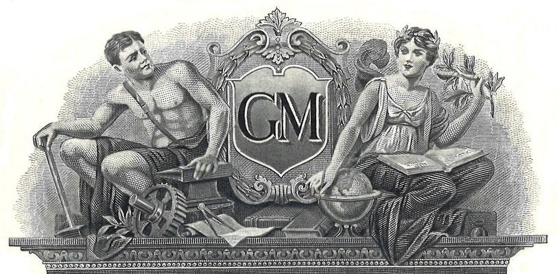 Vignet op een oud certificaat General Motors Corporation.