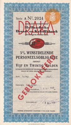 Winstdelende personeelsobligatie Draka uit 1949.
