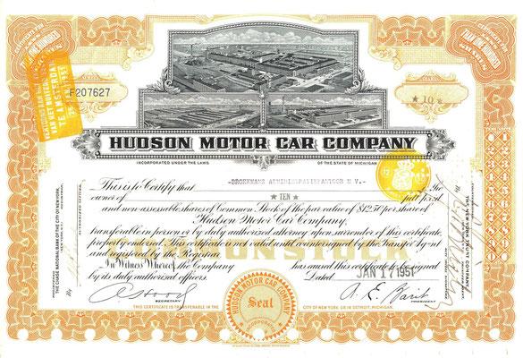 Certificaat voor 10 aandelen Hudson Motor Car Company uit 1951.