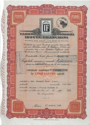 500 Aandelen Fabbrica Automobili Isotta Fraschini uit 1946.