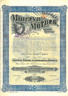 Aandeel Minerva Motors S.A. uit 1924.