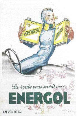 Reclame uit 1930 voor BP Energol, ontworpen door René Vincent, hij was even goed in mode als in auto's.