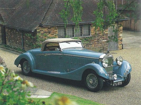 Deze Hispano-Suiza Type 68 uit 1935 met een Saoutchik carrosserie had een V12 motor met een cilinderinhoud van 11,3 liter. Oorspronkelijk was deze motor ontwikkeld uit een J12 motor met een langere slag voor de autorail van de Franse spoorwegen.