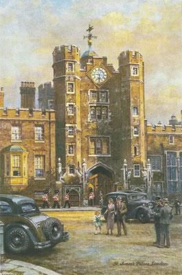 Kunstwerk met St. James's Palace Londen en een auto met Dunlop banden.