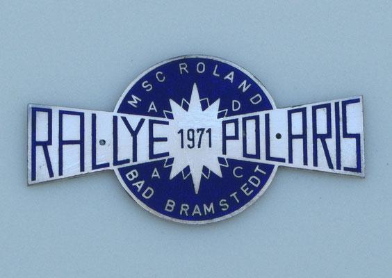 Geëmailleerd embleem van de Polaris Rally in 1971 van MSC Roland uit Bad Bramstedt.