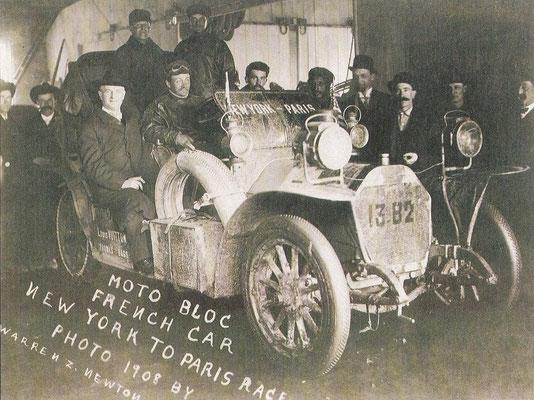 De Motobloc die de rit New York-Parijs maakte in 1908.
