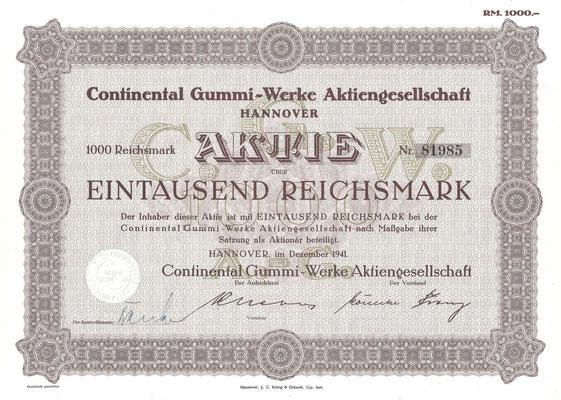 Aandeel Continental Gummi-Werke A.G. uit 1941. Dit aandeel (met een ander nummer) is te koop. Mail: automobielhistorie@gmail.com