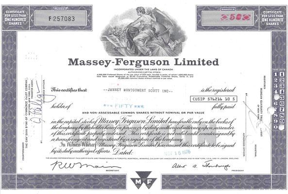 Certificaat voor 50 aandelen Massey-Ferguson Limited uit 1976.