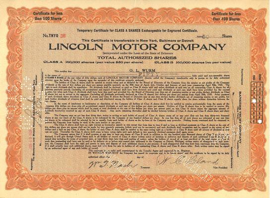 50 Aandelen Lincoln Motor Company met de handtekening van Wilfred C. Leland uit 1920. Twee jaar later kocht Ford Motor Company het bedrijf.