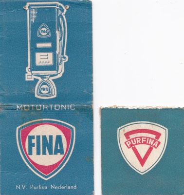 Afbreeklucifers met reclame voor Fina.