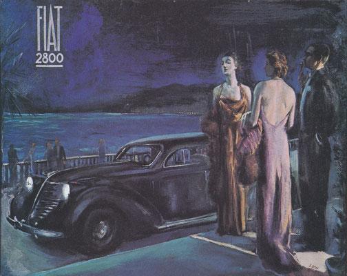 Een kunstwerk voor Fiat uit 1938, gemaakt door Bacci.
