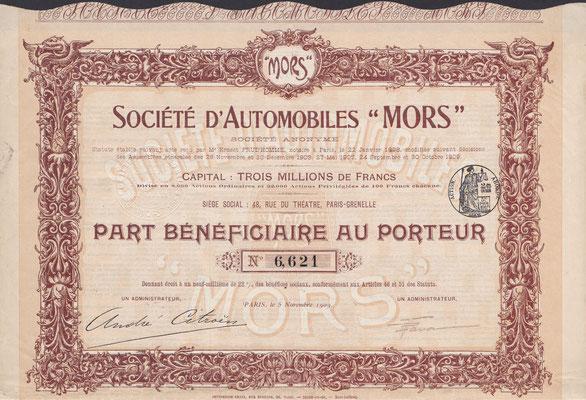 """Winstaandeel Société d'Automobiles """"Mors"""" S.A. uit 1909 met de handtekening van André Citroën."""