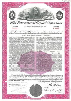 Obligatie Ford International Capital Corporation $1.000 uit 1969. Dit stuk (met een ander nummer) is te koop, prijs € 10,00 email: info@automobielhistorie.com