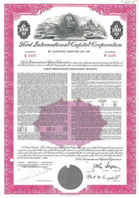 Obligatie $1.000 Ford International Capital Corporation uit 1969.