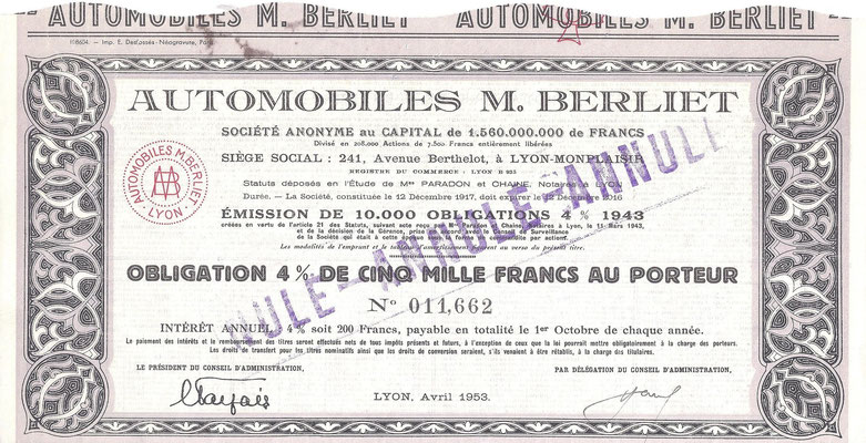Aandeel Automobiles M. Berliet S.A.