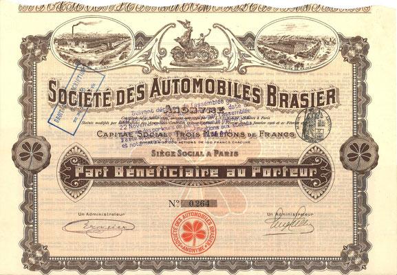Aandeel Société des Automobiles Brasier Anonyme uit ~1907.