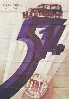 Een affiche uit 1929 van P.Codognato voor de Fiat 514.