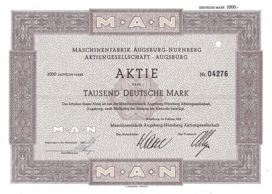Een aandeel van 1.000 DM Machinenfabrik Augsburg-Nurnberg A.G. uit 1952.