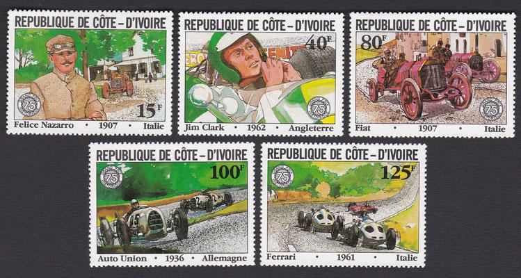 Postzegels Ivoorkust, 75 jaar Grand Prix, uit 1981.