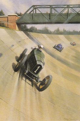 Jack Dunfee op Brooklands in 1921, een kunstwerk van Roy Nockolds.