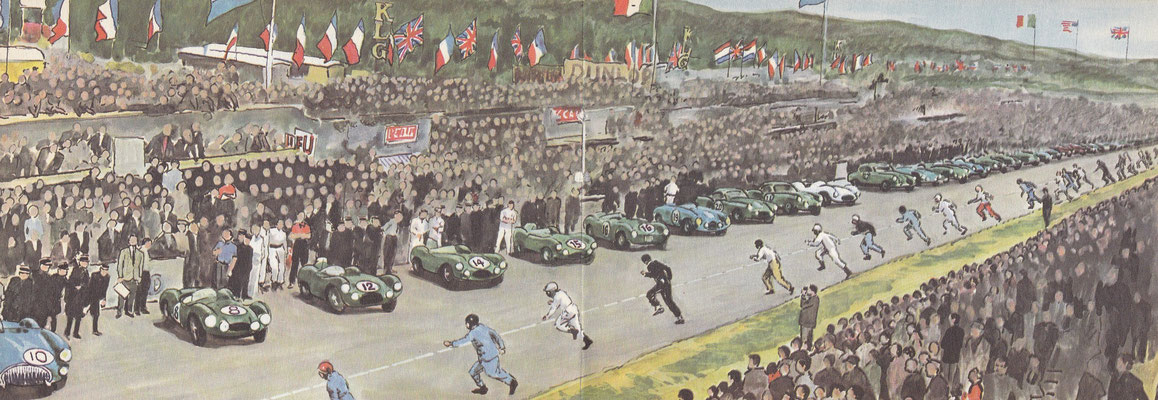 De start op Le Mans in 1954.