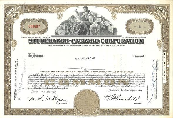 Certificaat voor 5 aandelen Studebaker-Packard Corporation uit 1960.