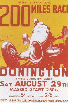 Poster van een race op Donnington, gemaakt door H.J. Moser.