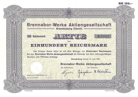 Aandeel (Aktie) 100 RM Brennabor-Werke A.G. Brandenburg uit 1935.