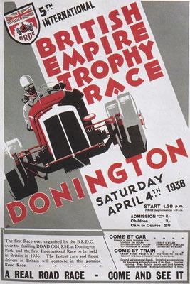 Poster voor een race in Donington in 1936.