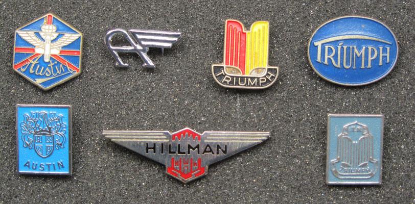 Austin, Triumph en Hillman speldjes, het speldje van Hillman is geëmailleerd.