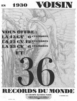 Een advertentie van Voisin uit 1929.
