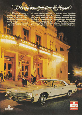 Advertentie Dodge Monaco uit 1974.