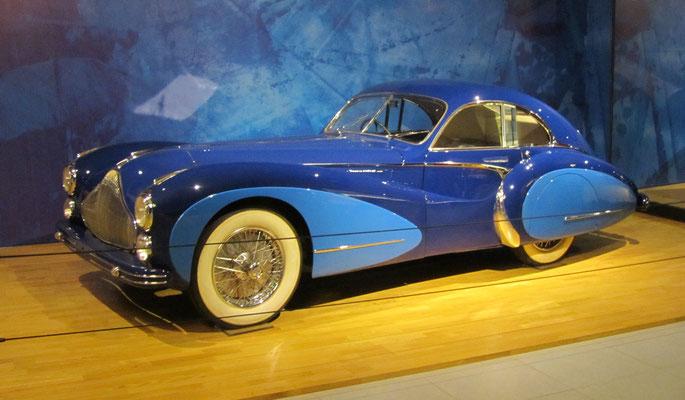 Talbot Lago T26 Grand Sport Coupé uit 1948 met een carrosserie van Saoutchik. (Louwman Museum in Den Haag)