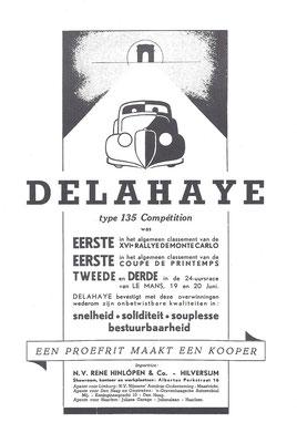 Nederlandse advertentie Delahaye uit 1937.