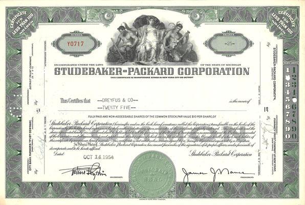 Certificaat voor 25 aandelen Studebaker-Packard Corporation uit 1954.