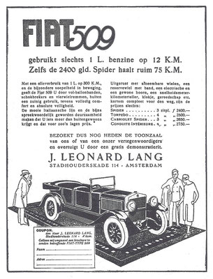 Een Nederlandse advertentie voor Fiat uit 1928.