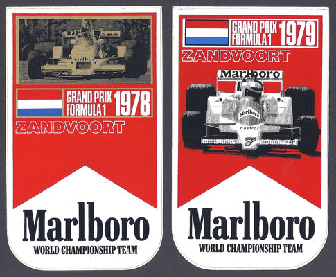 Stickers Grand Prix Formule 1 Zandvoort 1978 en 1979.