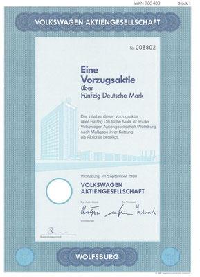 Aandeel (Aktie) DM 50 Volkswagen A.G. Wolfsburg uit 1986.