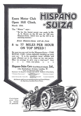 Engelse advertentie voor Hispano-Suiza 1913.